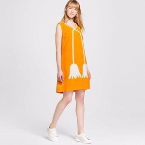 Victoria Beckham Midi Yellow Shift Dress Size M